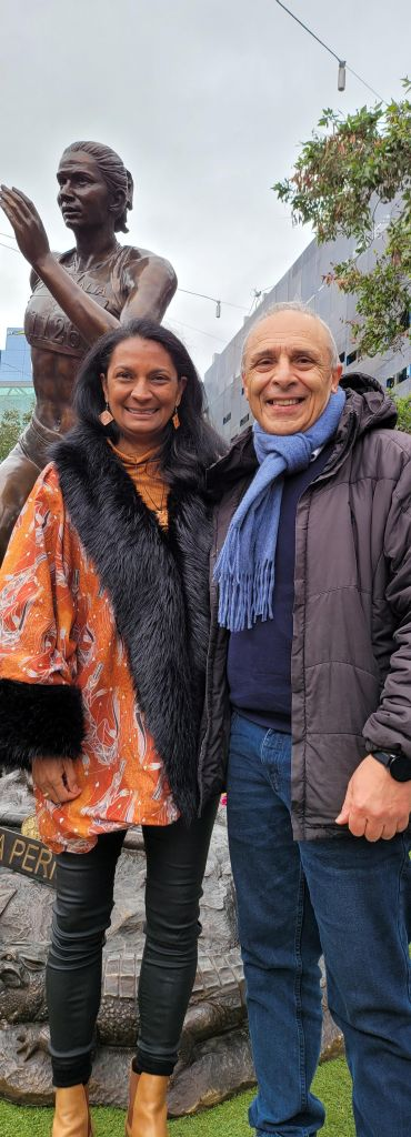 Hass Dellal with Nova Peris OAM at the launch